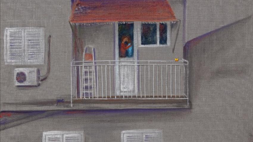 Πεταλούδα στο μπαλκόνι | Έκθεση Ζωγραφικής του Μπάμπη Πυλαρινού